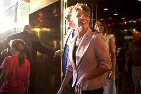 Sarah Palin Meets With Donald Trump In New York During Her Bus Tour