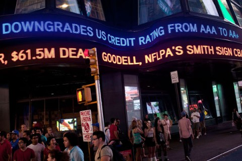 at Times Square on August 5, 2011 in New York City.