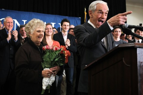 Ron Paul holds a campaign event in Virginia in early 2012.