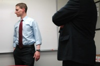 image: Republican Senate candidate Josh Mandel listens to staff at an AMVETS veterans' career center in Columbus, Ohio, on Thursday, June 14, 2012.
