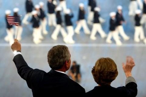 President George W. Bush and U.S. First Lady Laura Bush