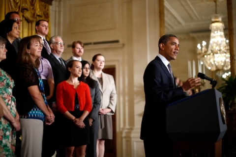 U.S. President Obama delivers a statement calling for a one-year extension of Bush-era tax cuts, in the East Room of the White House in Washington