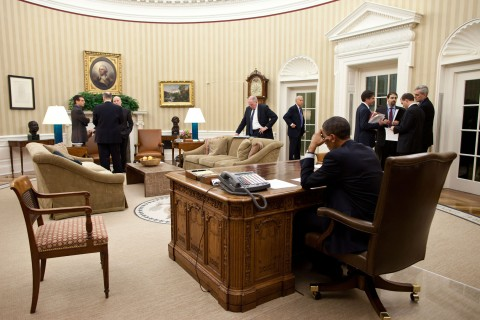 National Security Team meets with President Obama in the Oval Office
