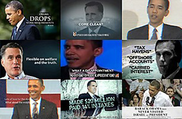Images from President Obama and Governor Romney's campaign ads.