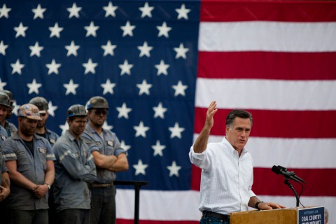 Republican presidential candidate Mitt Romney campaigns at American Energy Corporation's Century Mine in Beallsville, Ohio on Aug. 14, 2012.