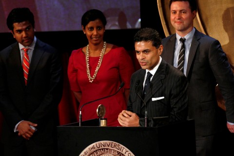 """Journalist Fareed Zakaria speaks after accepting a Peabody award for the work done on his television news program  """"Fareed Zakaria GPS"""" during the 71st annual Peabody Awards ceremony in New York on May 21, 2012."""