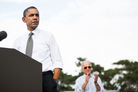 image: President Barack Obama, joined by Vice President Joe Biden, speaks during a campaign event at Triangle Park in Dayton, Ohio, on Oct. 23, 2012.