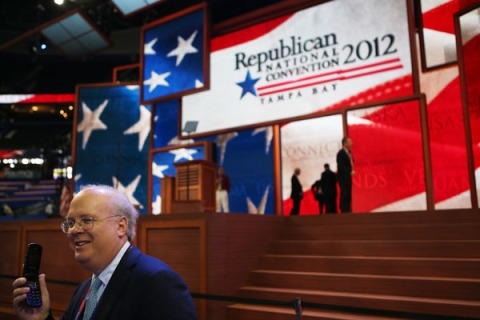 Karl Rove, former Deputy Chief of Staff and Senior Policy Advisor to U.S. President George W. Bush, walks on the floor at the Republican National Convention on August 28, 2012 in Tampa, Florida.