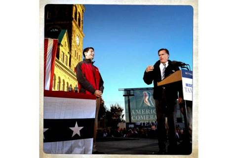 Republican presidential candidate Mitt Romney and his vice-presidential candidate Paul Ryan