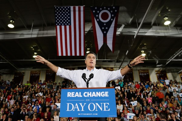 image: Republican presidential candidate Mitt Romney gestures while speaking at campaign stop at Avon Lake High School in Avon Lake, Ohio, on Oct. 29, 2012.