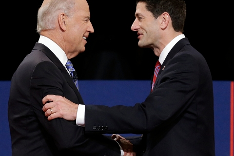 Vice President Joe Biden and Republican vice presidential nominee Rep. Paul Ryan of Wisconsin shake hands before the vice presidential debate at Centre College in Danville, Ky., on Thursday, Oct. 11, 2012.