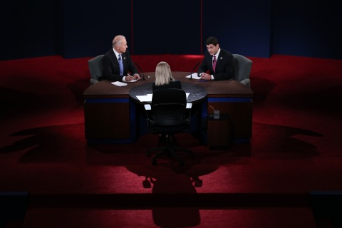 Vice President Joe Biden and Republican vice presidential candidate U.S. Rep. Paul Ryan participate in the vice presidential debate as moderator Martha Raddatz looks on at Centre College in Danville, Ky., on Thursday, Oct. 11, 2012.