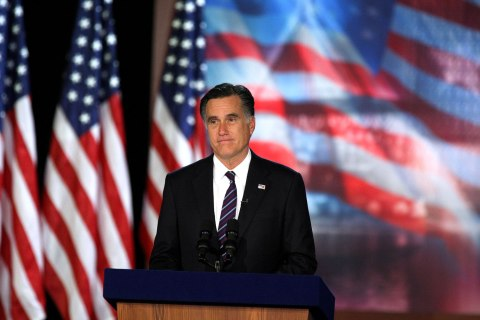 Image: Mitt Romney addresses supporters at the Boston Convention and Exhibition Center as he concedes the election to President Barack Obama.