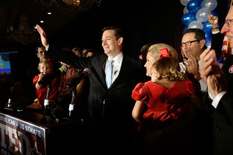 image: Republican candidate for U.S. Senate Ted Cruz thanks the crowd during a victory speech as he is joined on stage by his wife Heidi, right, in Houston, Nov. 6, 2012.