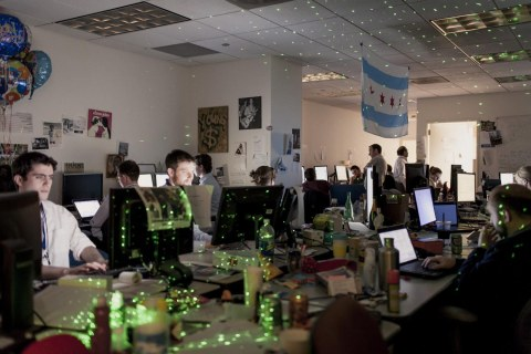 "image ""The cave"" at President Obama's Election headquarters in Chicago"