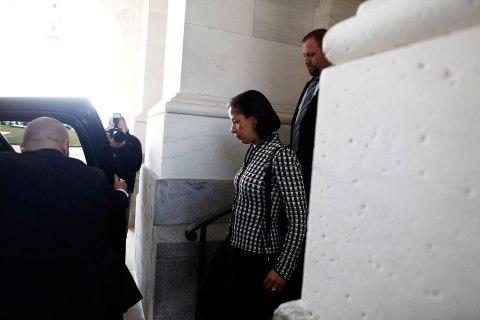 image: U.N. Ambassador Susan Rice leaves the U.S. Senate after meeting separately with Senators Susan Collins and Bob Corker on Capitol Hill in Washington, Nov. 28, 2012.