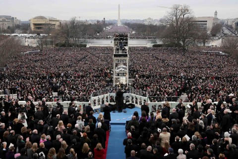 President Barack Obama gives his inauguration address after being sworn in at the presidential inauguration at the U.S. Capitol in Washington, DC, on Jan. 21, 2013.
