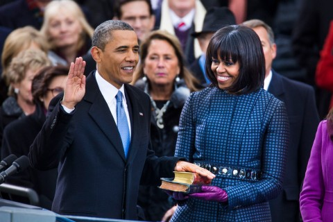 President Barack Obama takes the oath of office during the 57th Presidential Inauguration ceremonial swearing-in at the U.S. Capitol on Jan. 21, 2013 in Washington, DC.
