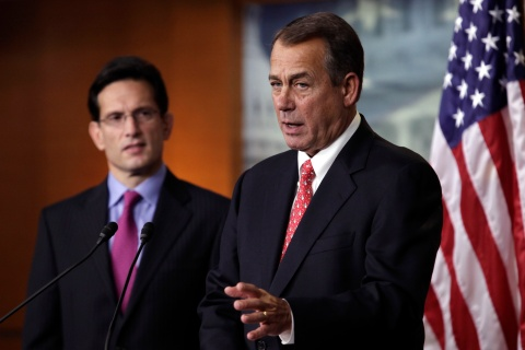 """image: House Speaker John Boehner, right, and House Majority Leader Eric Cantor speak to the media on the """"fiscal cliff"""" on Capitol Hill in Washington, Dec. 21, 2012."""