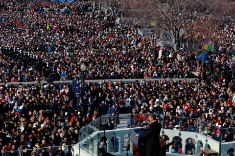 U.S. President Barack Obama gives his first speech during his inauguration ceremony as the 44th President of the United States in Washington