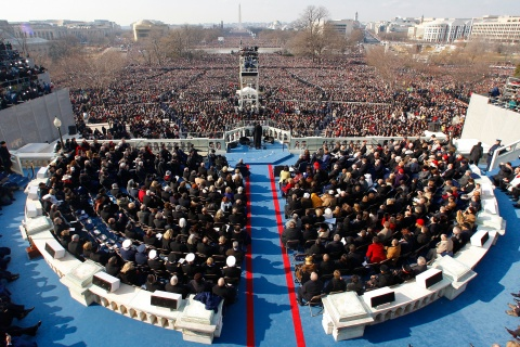 U.S President Obama addresses the crowd after taking the Oath of Office as the 44th President of the US during the inauguration ceremony in Washington