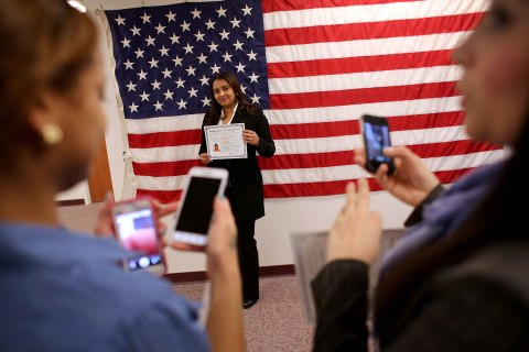 Immigrants Become Naturalized US Citizens At Ceremony In New Jersey