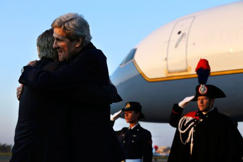 U.S. Secretary of State Kerry hugs U.S. Ambassador to Italy Thorne upon arrival in Rome