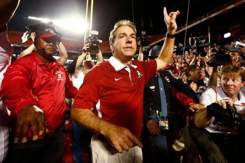 Alabama head coach Saban celebrates after Alabama defeated Notre Dame in their NCAA National Championship college football game in Miami