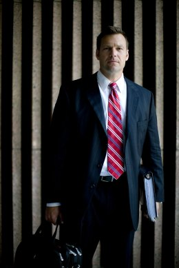Kris Kobach stands outside the United States Courthouse in Dallas, Texas, in June, 2009.