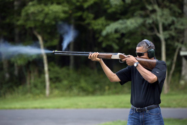 President Barack Obama shoots clay targets on the range at Camp David, Md., Aug. 4, 2012.