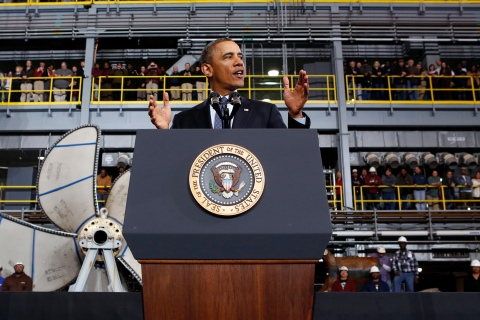 Obama visits a shipbuilding yard in Newport News, Virginia