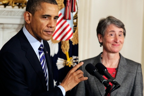 Obama announces the nomination of Sally Jewell, CEO of Recreational Equipment Inc., to Interior Secretary at the White House in Washington