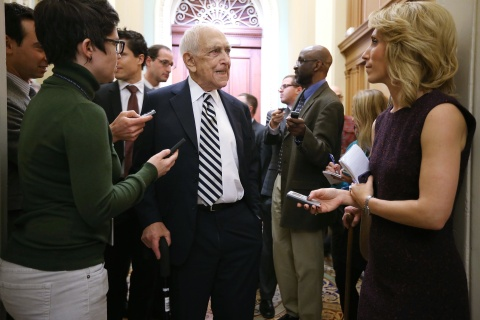 U.S. Sen. Frank Lautenberg speaks to members of the press as he arrives at the weekly Senate Democratic Policy Luncheon at the U.S. Capitol in Washington, Jan. 29, 2013.