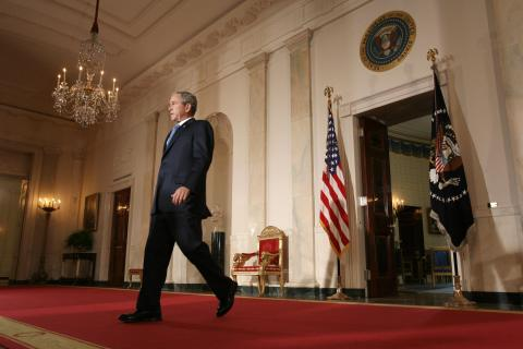 Former President George W. Bush arrives to speak on the war in Iraq at the White House in Washington, D.C., on April 10, 2008.