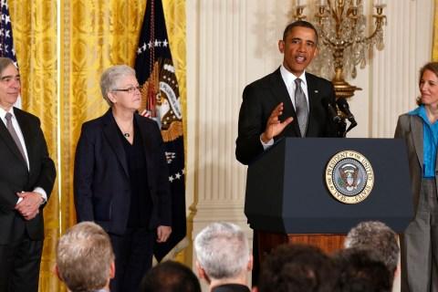 U.S. President Barack Obama nominates three new members of his staff in Washington