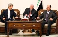 U.S. Secretary of State John Kerry meets with Iraq's PM Nouri al-Maliki