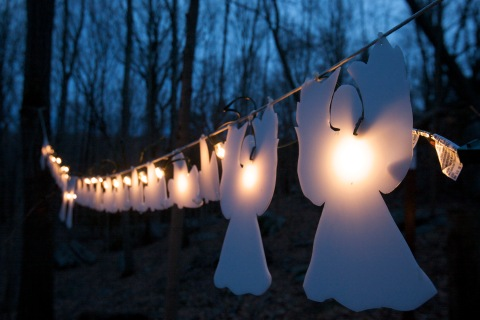 Lighted angels hang from a tree in Monroe