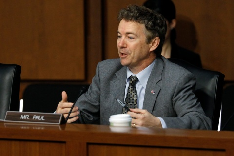 U.S. Senator Paul questions Sen. Kerry during Senate Foreign Relations Committee confirmation hearing on Capitol Hill in Washington