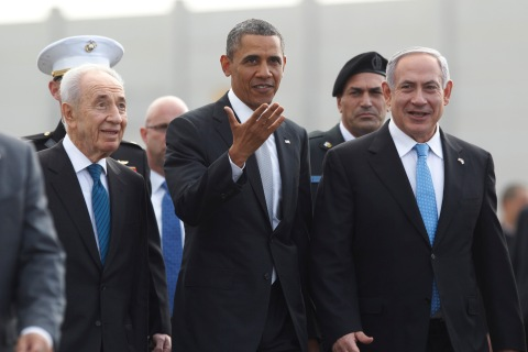 U.S. President Obama participates in a farewell ceremony with Israeli PM Netanyahu and President Peres at Tel Aviv International Airport
