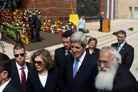 Secretary of State John Kerry during the annual ceremony at the Yad Vashem Holocaust Memorial complex in Jerusalem on April 8, 2013.