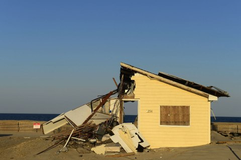 A home destroyed by Hurricane Sandy is seen on the beach in Toms River, N.J., April 25, 2013.
