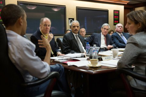 U.S. President Barack Obama (far left) holds a meeting in the Situation Room in Washington D.C. on the ongoing investigation into the Boston Marathon bombing, on April 20, 2013.