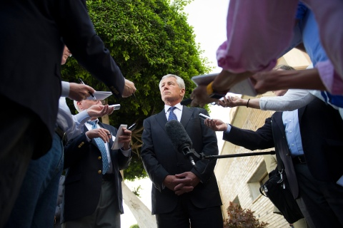 U.S. Secretary of Defense Chuck Hagel speaks with reporters after meeting Egyptian President Mohamed Morsi and Egypt's Defence Minister in Cairo, on April 24, 2013.