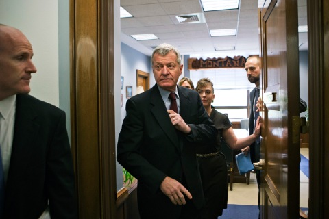Senate Finance Committee Chairman Senator Max Baucus of Montana leaves his committee office on Capitol Hill in Washington, D.C., on April 23, 2013.