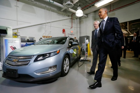U.S. President Barack Obama walks past a Chevy Volt electric car as he tours the Argonne National Lab near Chicago