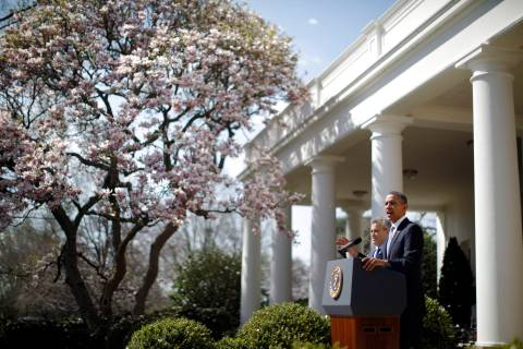 Obama delivers remarks on the budget alongside Jeff Zients in the Rose Garden of the White Hose in Washington