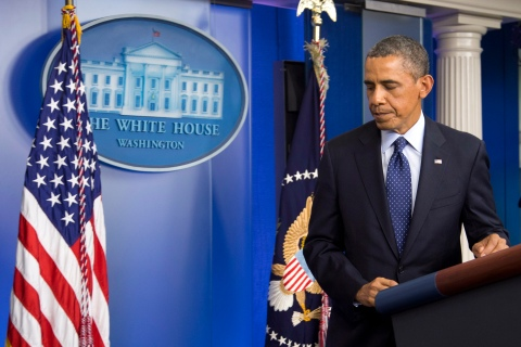 President Barack Obama leaves the podium after speaking in the James Brady Press Briefing Room at the White House in Washington, Monday, April 15, 2013, following the explosions at the Boston Marathon.