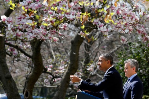 U.S. President Barack Obama talks about the Fiscal Year 2014 Budget at the White House in Washington