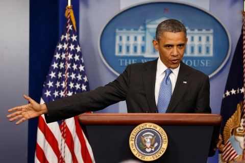 U.S. President Obama addresses the media in the Brady Press Briefing Room at the White House in Washington