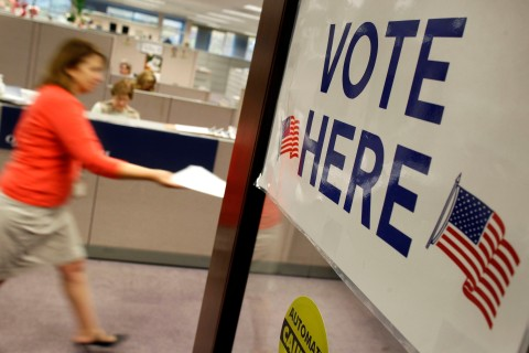 An early voter is seen at the Fairfax County Government Center in Fairfax, Virginia